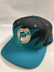 Vintage Miami Dolphins Sharktooth Logo 7 Snapback Hat Cap NFL Football 90s Black