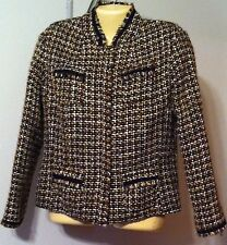 Chico's Plaid Woven Jacket Size 1 or Small 8-10 VGC Silk Blend Brown Snap Front