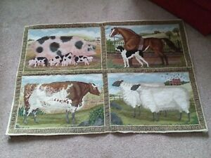 Elizabeth Bradley  Beasts of the Fields 4 panel  Completed  Tapestry+ Borders