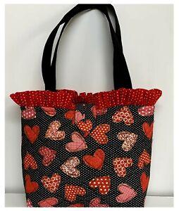 NEW Handmade Tote Purse handbag Holiday Hearts Valentine Red faffygiraffe