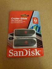 SanDisk 64GB (Set of 2x 32GB) Cruzer GLIDE USB Flash Pen Drive Sealed Retail Pks