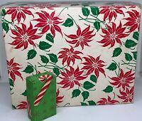 VINTAGE PAIR EMPTY CHRISTMAS BOXES - POINSETTIA & CANDY CANE PRINT