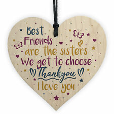 Best Friend Sister Friendship Gifts Wood Heart Birthday Christmas Thank You Gift