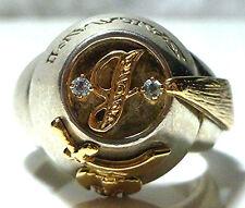 SHRINER SALAAM FRATERNAL STERLING SILVER 14K GOLD HAT DIAMOND AQUAMARINE RING