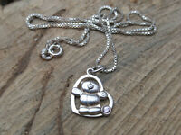sterling silver heart pendant teddy design curb chain necklace