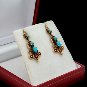 Antique Vintage Deco 14k Yellow Gold Etruscan Persian Turquoise Dangle Earrings