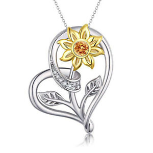 Womens Classic Silver Heart Gold Sun Flower Zircon Pendant Necklace Gift