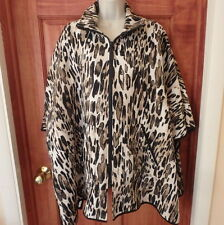 IC by Connie K Animal Cheetah Print Oversized Poncho Jacquard Texture