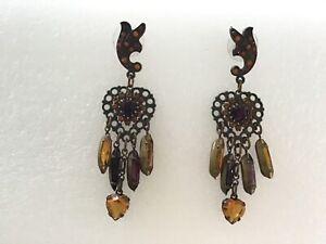 Vintage Banana Bob Topaz Stones Dangle Pierced Earrings