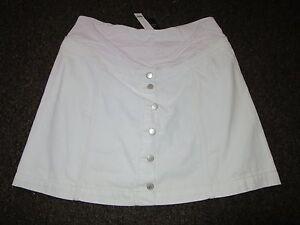BNWT TopShop Maternity Skirt UK 8 White Denim Button Front Dress Up Over Bump