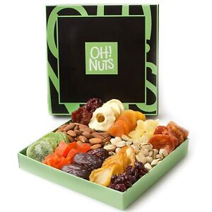 Holiday Nut and Dried Fruit Gift Basket, Healthy Gourmet Snack Christmas 08/21