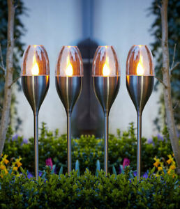 Solar Powered Stainless Steel Flickering Flame LED Stake Lights Garden Lamps