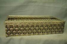 vintage old Metal silver tone Tissue box holder wicker basket weave pattern