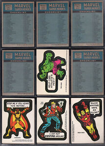 1976 Marvel Super Heroes Sticker & Checklist Complete #1-40 + 9 Puzzle Pieces NM