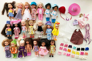 Lot of 21 Mattel Barbie Kelly Club Tommy Friends Dolls Outfits Shoes Accessories