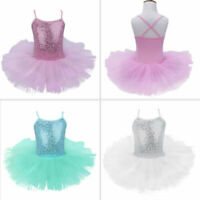 UK Girls Sequin Ballet Leotard Dress Kids Tutu Skirt Ballerina Dancewear Costume
