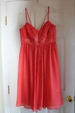 David's Bridal orange cocktail size 12 ladies dress womens spaghetti empire