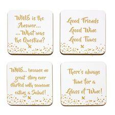 Set of 4 Wine Phrase Drink Coasters Gold Words by LEONARDO