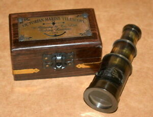 "Vintage maritime brass 4"" telescope victorian marine spyglass scope & wooden box"