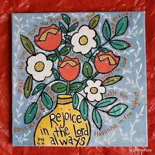 Folk Art ORIGINAL Canvas Bible Scripture Rejoice Lord Flowers Vase Psalm Leaf