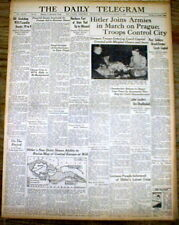 <2 1939 WW II newspapers CZECHOSLOVAKIA ANNEXED by NAZI Germany APPEASE HITLER