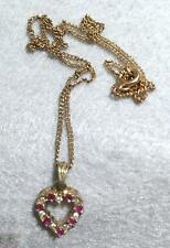 """Vintage Sterling Heart  ~  GP Pendant with Red and Clear Crystals ~ 16"""" Chain"""