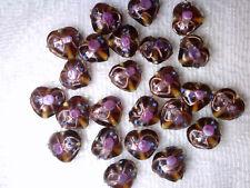 Vtg 30 AMBER HEART WEDDING CAKE BEADS 12mm PINK ROSE necklace #080518k