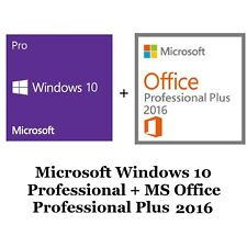 Clé pour Microsoft Windows 10 professionnel + MS Office Pro Plus 2016 32/64 bits