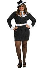 Gun Moll/ Lady Gangster Dress 4 Pc Blk/Wht Stripe Dress Belt Collar/Tie & Hat PZ