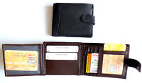Mens Quality Leather wallet 8 Card slots 2 ids zipped coin pocket BLACK or BROWN