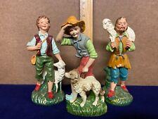 Antique ~ Vintage ~ Original Made In Italy ~ Nativity Figures ~ 3 Shepherd Lot