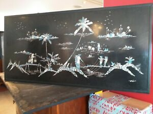 SIGNED Mother pearl inlay inlaid lacquered lacquer Vietnamese wall picture panel