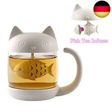 BigNoseDeer Katzen Glas Tee Becher Wasser Flasche mit Fisch Tee Infuser  (Weiß)