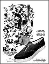 1940 Backyard Cookout Keds Resort Oxford Shoes family vintage art print ad L18