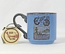 Coffee Mug Camp Life New w/Tags Themes Camping Outdoor Lake Blue Stoneware Large