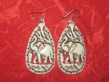 LARGE 50MM HAND CARVED CAMEL BONE AFRICAN ELEPHANT CHARM EARRINGS