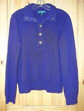 Lauren Ralph Lauren Purple Cotton Pullover Sweater, Womens L
