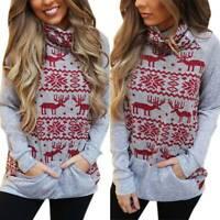 Womens Christmas Print Knit Sweater Jumper Xmas Turtle Neck Pullover Sweatshirts