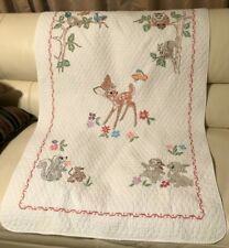 Adorable Vtg 80s Hand Embroidered White Bambi & Friends Baby Quilt Cover 34 x 54