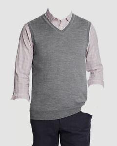$295 Bloomingdale's Men's Gray V-Neck Regular Fit Merino Wool Vest Size M