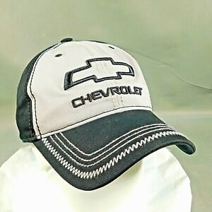 GM Chevrolet Embroidered Chevy Bow Tie Black & Gray Adjustable Ball Cap New