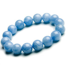 Natural Blue Aquamarine Gems Stretch Clear Round Beads Bracelet 12mm AAA