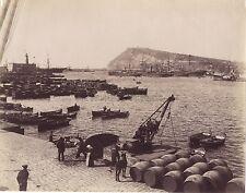 Barcelone Le port et la montagne de Montjuïc Espagne Vintage Albumine ca 1880