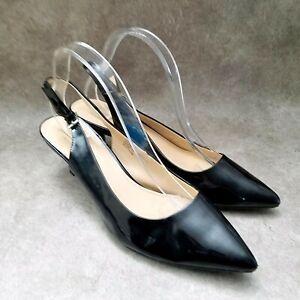 Liz Claiborne Womens Belle Sz 11 W Black Pointed Toe Slingback Kitten Heels
