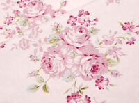 ROSES Fabric- 100% COTTON vintage Pink FLORAL MATERIAL by the metre