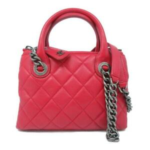 Chanel Red Small Boy Chained Tote Shoulder Bag Quilted Calfskin Leather