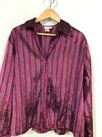 Coldwater Creek 1X Pink Stripe Top blouse PLus Size Long sleeve