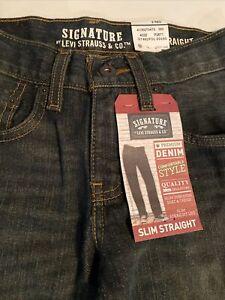 New Signature by Levi Strauss Boys Skinny Dark Denim Jeans 8 Regular Adjustable