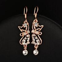 Lovely Cute Crystal Cat Dangle Long Earrings Women Party Jewelry 3 Colors
