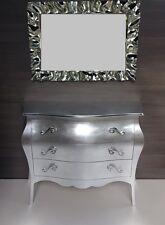 Comò bombato, foglia d'argento con specchio